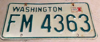 1976 Washington License Plate Tag '76 WA Bicentennial Sticker Liberty Bell