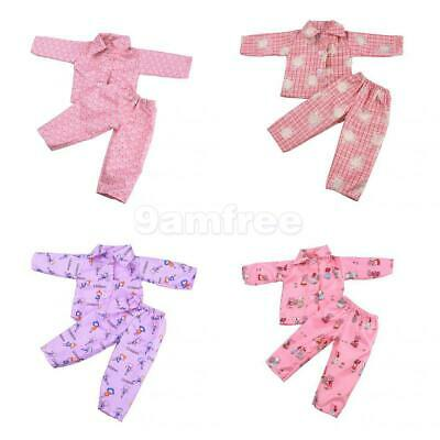 4 Sets Pajamas PJS Sleepwear Doll Clothes Fits 18'' American Girl Our Generation