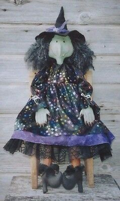 """Purdy Gertie by Cat and the Fiddle designs Witch Doll 34"""" Halloween Pattern"""