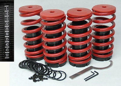 "Honda Adjustable 0-4"" Red Suspension Coilovers Lowering Springs Kit w/ Scale"