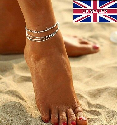 Multi Layer Silver Crystal Ball Bracelet Anklet Ankle Foot Chain Women Jewellery