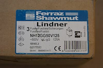 New Lot Ferraz Shawmut NH12GG50V125 Lindner Fuse 500V 125A Box Lot Of 3