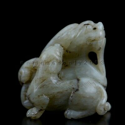 Old Chinese Hetian Nephrite Jade Carved Foo Dogs Qilin Figure Pendant Decorative