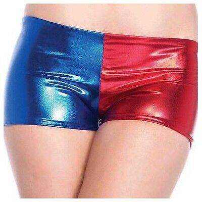 New Women's Ladies Harley Quinn Suicide Squad Harlequin Metallic Shiny Short