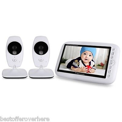 """7.0"""" TFT  Wireless Night Vision Video Baby Monitor Dual View LCD with 2 Cameras"""