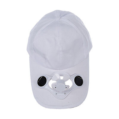 SS Solar Sun Power Hat Cap Cooling Cool Fan - White