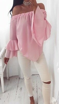 Fashion Summer Women Casual T-Shirt Tops Off Shoulder Long Sleeve Loose Blouse