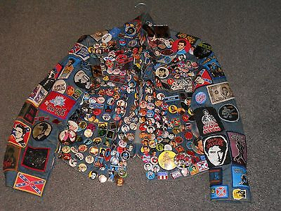 Vintage Job Lot Life Long Collection Pop Rock Music Badges Patches On Jacket