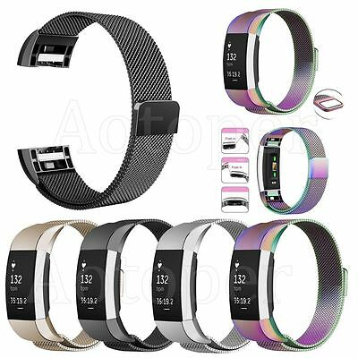 Stainless Steel Watch Band Metal Strap Bracelet Replacement For Fitbit Charge 2