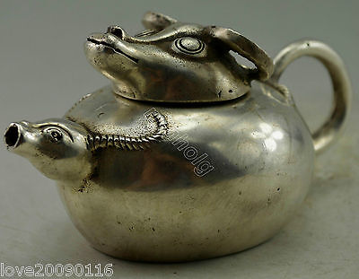 Collectible Decor Old Handwork Silver Plate Copper Carved 2 Cattle Head Tea Pot