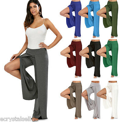 Womens High Slit Palazzo Trousers Ladies Wide Leg Flared Loose Pants Leggings