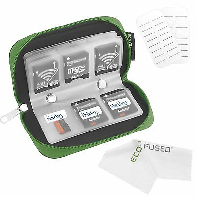 Memory SD Card Holder Case Bag Zipper Storage Organizer SD Card Keeper Green NEW