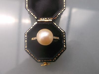Vintage Women's 9ct Gold Pearl Ring Size J 1/2 Weight 2.66g Quality Ring