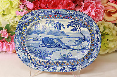 "Staffordshire, ""Oriental Sports"" Reticulated Platter, c. 1820"