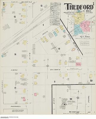 THEDFORD ONTARIO THREE Street and Building Maps 1906