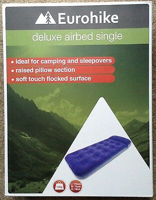 Eurohike Deluxe Soft Flocked Single Airbed Size Navy Blue Raised Pillow