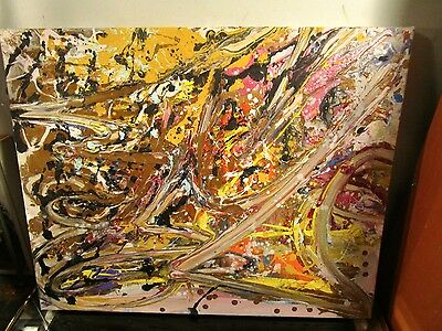 original abstract canvas painting signed by musk yai 16x20 ready to hang graffit
