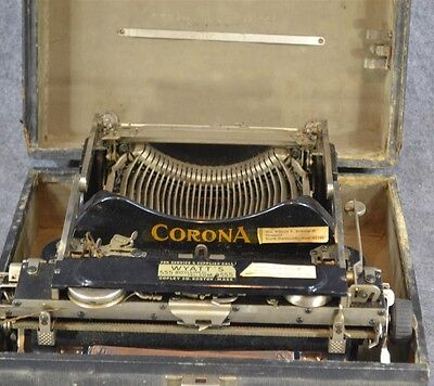 portable typewriter Corona fold over carriage case # 3 antique original 1912