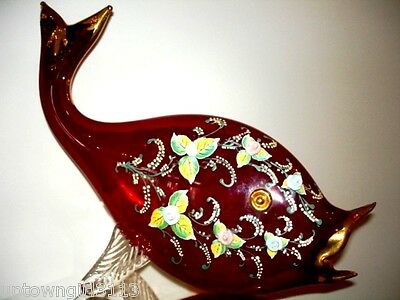 "EXQUISITE Ruby RED Art Glass 18"" FISH SCULPTURE oddity unique 22K roses VINTAGE"