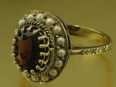 C827 Vintage style 9K Gold Natural GARNET & PEARL Cluster Ring made in your size