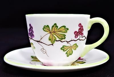 Shelley Miniature MINT Cup Saucer Wine Grapes  Pattern #13907 Westminster Shape