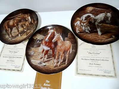 1987 horses KAISER STABLE COLLECTION PLATES x3 German porcelain TWINNEY vintage