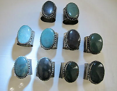 Unique Artisan Handcrafted Thailand Agate Stones Napkin Rings 12 Available