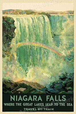 Niagara Falls Great Lakes Leap to the Sea 1920s Vintage Travel Poster - 20x30
