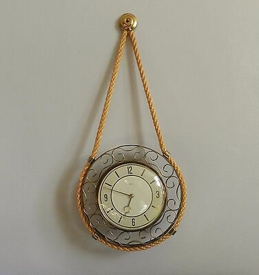 Vintage PAICO rope wall hanging wind-up clock Retro Kitsch 1950's / 60's