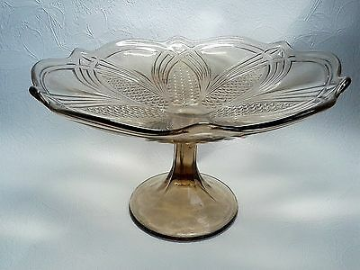Colored glass pedestal compote candy dish vintage Soviet Russian USSR