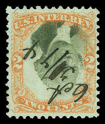 Scott R135b 1871 2¢ Third Issue Revenue INVERTED CENTER Used F-VF Cat $475 RARE!