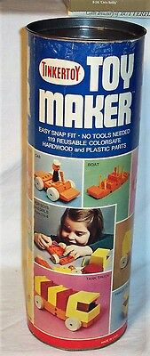 Vintage Tinkertoy Toy Maker Set 131 Plastic And Wood Pcs - 1972 - Very Good Cond