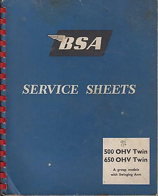 BSA A7 500cc & A10 650cc ( 1947 - 1962 ) ORIGINAL FACTORY WORKSHOP MANUAL