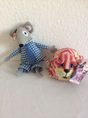 """Bagpuss 5"""" Beanie  1999 &  8"""" Charlie Mouse 2001 Golen Bear Products"""