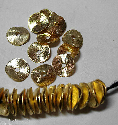 Bright GP Gold Plated 8mm Flat Round Wavy Chip Cornflake 50 Beads Spacer Accent