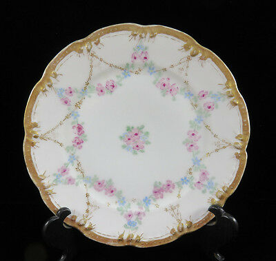 "Antique Pink & Blue Floral Garland & Gilt  Cabinet Plate  8 1/4"" ~ JHR Germany"