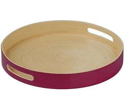 Kyoto SPUN BAMBOO Round SERVING TRAY with HANDLES Raspberry RED Premier