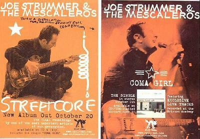 Joe Strummer Streetcore Coma Girl Promotional Postcards Ideal For Framing