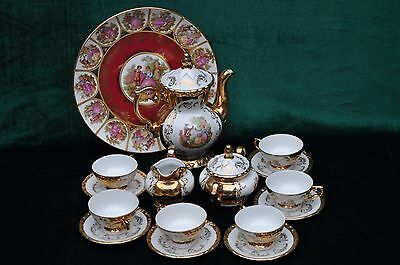VERY Rare Antique Gold On Porcelain Bavaria Coffee or Tea Set.