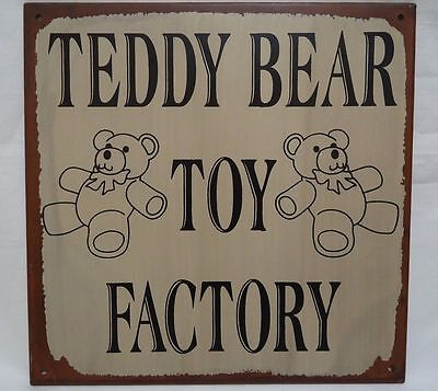 Children's Wall Sign Teddy Bear Toy Factory Metal Bedroom Playroom Nursery Decor