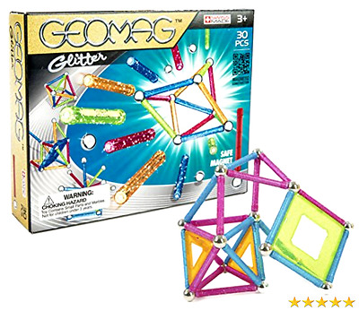 Geomag 30-Piece Glitter Construction Set with Assorted Panels - Mentally Stimul