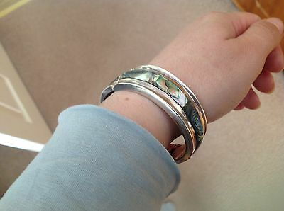 Heavy Abalone Mexican Silver Bangle