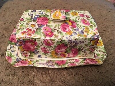 """Vintage Royal Winton """"summertime"""" Rectangle Butter Dish With Lid.          (085)"""