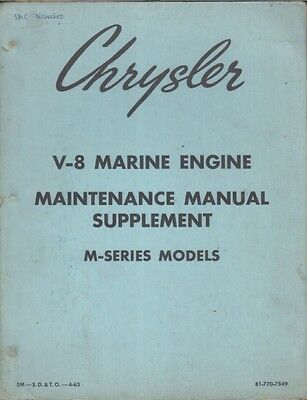 Chrysler M318A/b/c M383B M413/b/d/e M426D Marine Eng. Workshop Manual Supplement