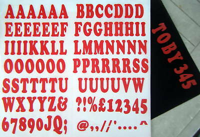 iron on 35mm - A-Z LETTERING and NUMBERS red t-shirt printing custom printing