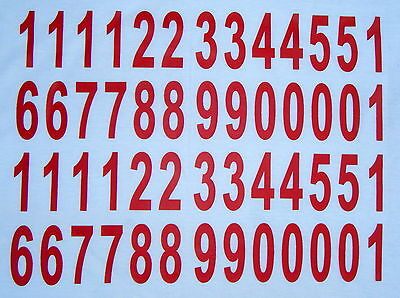 52 iron on transfers  50mm - numbers red for personalised t-shirts fabric.etc