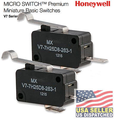 HONEYWELL S&C V7-7H25D8-263-1 (Pack of 2)  MICRO SWITCH, ROLLER LEVER, SPST-NO