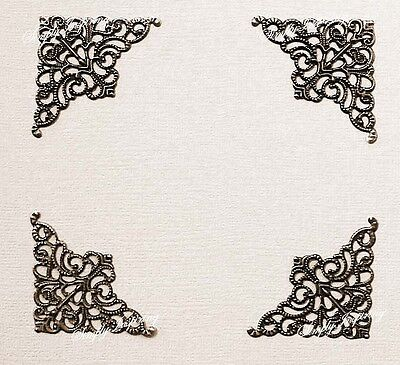 New✿ 4 Lace Metal Corner Embellishments ✿For Photos Scrapbooking & Card making ✿