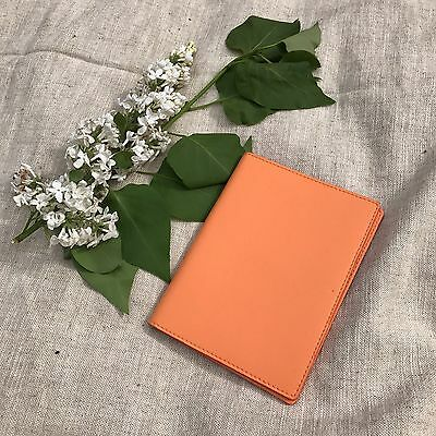 Genuine Leather Passport Cover Orange Made In Italy