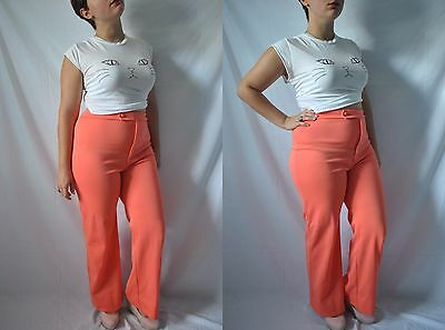 Vintage 60s High Waisted Orange Hippie Pants Seventies Flare Polyester Pants